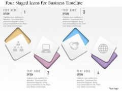 Business Diagram Four Staged Icons For Business Timeline Presentation Template