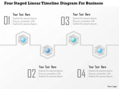 Business Diagram Four Staged Linear Timeline Diagram For Business Presentation Template
