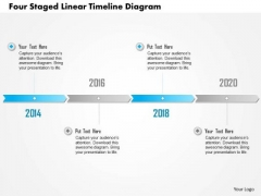 Business Diagram Four Staged Linear Timeline Diagram Presentation Template