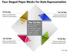 Business Diagram Four Staged Paper Blocks For Data Representation PowerPoint Template