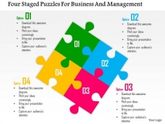 Business Diagram Four Staged Puzzles For Business And Management Presentation Template