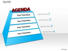 Business Diagram Four Staged Pyramid To For Agenda Presentation Template