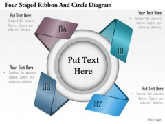 Business Diagram Four Staged Ribbon And Circle Diagram Presentation Template
