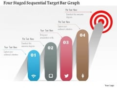 Business Diagram Four Staged Sequential Target Bar Graph Presentation Template