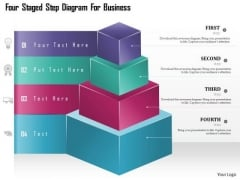 Business Diagram Four Staged Step Diagram For Business Presentation Template
