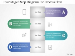 Business Diagram Four Staged Step Diagram For Process Flow Presentation Template