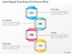 Business Diagram Four Staged Text Boxes For Process Flow Presentation Template