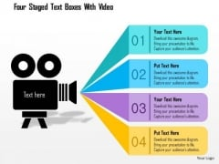 Business Diagram Four Staged Text Boxes With Video Presentation Template