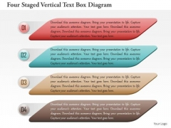 Business Diagram Four Staged Vertical Text Box Diagram Presentation Template