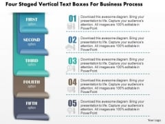 Business Diagram Four Staged Vertical Text Boxes For Business Process Presentation Template