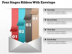 Business Diagram Four Stages Ribbon With Envelope Presentation Template
