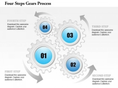 Business Diagram Four Steps Gears Process Presentation Template