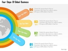 Business Diagram Four Steps Of Global Business Presentation Template