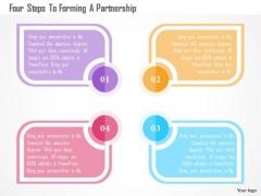 Business Diagram Four Steps To Forming A Partnership Presentation Template