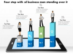 Business Diagram Four Steps With 3d Business Person Standing Over It PowerPoint Slide