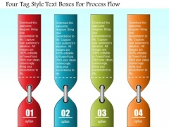 Business Diagram Four Tag Style Text Boxes For Process Flow Presentation Template