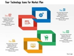 Business Diagram Four Technology Icons For Market Plan Presentation Template
