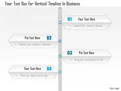 Business Diagram Four Text Box For Vertical Timeline In Business Presentation Template