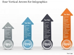 Business Diagram Four Vertical Arrows For Infographics PowerPoint Template