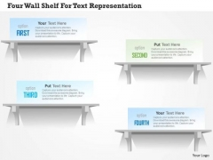 Business Diagram Four Wall Shelf For Text Representation PowerPoint Template
