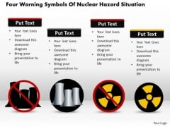 Business Diagram Four Warning Symbols Of Nuclear Hazard Situation Presentation Template