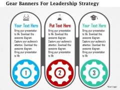 Business Diagram Gear Banners For Leadership Strategy Presentation Template