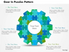 Business Diagram Gear In Puzzles Pattern Presentation Template