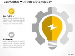 Business Diagram Gear Outline With Bulb For Technology Presentation Template