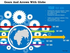 Business Diagram Gears And Arrows With Globe Presentation Template