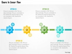 Business Diagram Gears In Linear Flow Presentation Template