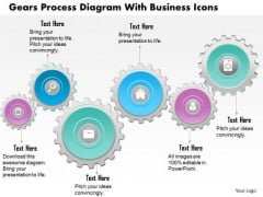 Business Diagram Gears Process Diagram With Business Icons Presentation Template