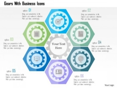 Business Diagram Gears With Business Icons Presentation Template