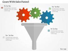 Business Diagram Gears With Sales Funnel Presentation Template