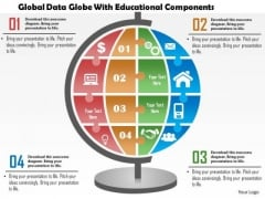 Business Diagram Global Data Globe With Educational Components Presentation Template