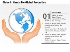 Business Diagram Globe In Hands For Global Protection Presentation Template