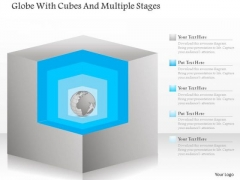 Business Diagram Globe With Cubes And Multiple Stages PowerPoint Template