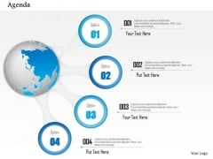 Business Diagram Globe With Four Points Agenda Diagram Presentation Template