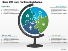 Business Diagram Globe With Icons For Brand Architecture Presentation Template