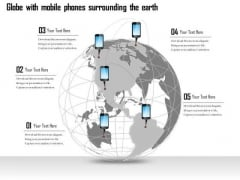 Business Diagram Globe With Mobile Phones Surrounding The Earth Presentation Template