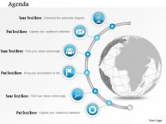 Business Diagram Globe With Semi Circular Icon Line Agenda Presentation Template