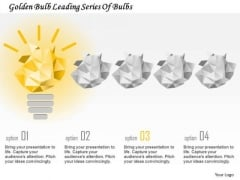 Business Diagram Golden Bulb Leading Series Of Bulbs Presentation Template