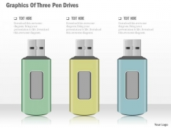 Business Diagram Graphics Of Three Pen Drives Presentation Template