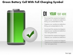Business Diagram Green Battery Cell With Full Charging Symbol PowerPoint Slide