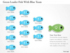 Business Diagram Green Leader Fish With Blue Team Presentation Template