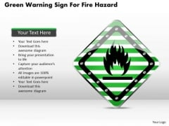 Business Diagram Green Warning Sign For Fire Hazard Presentation Template