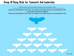 Business Diagram Group Of Flying Birds For Teamwork And Leadership Presentation Template