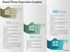 Business Diagram Hand Three Steps Info Graphic Presentation Template