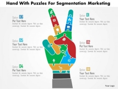 Business Diagram Hand With Puzzles For Segmentation Marketing Presentation Template