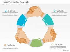 Business Diagram Hands Together For Teamwork Presentation Template