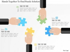 Business Diagram Hands Together To Find Puzzle Solution Presentation Template